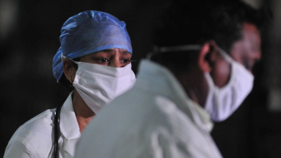 Two doctors inside a hospital in Allahabad city